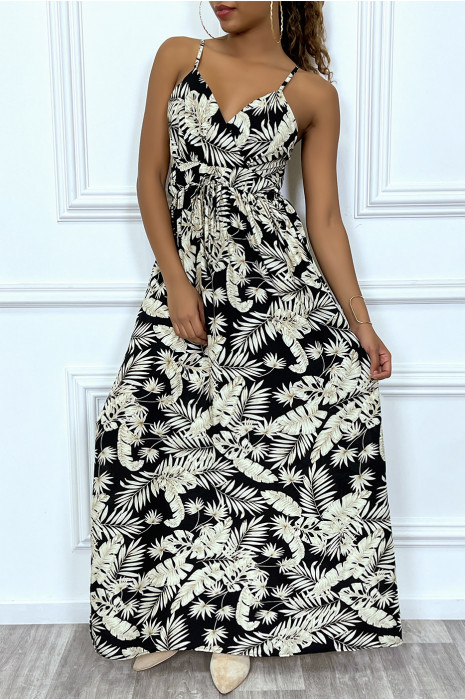 Long black belted dress with beige tropical pattern