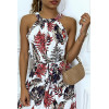 Fluid white dress with crewneck / swimmer neckline with leaf patterns and belt at the waist