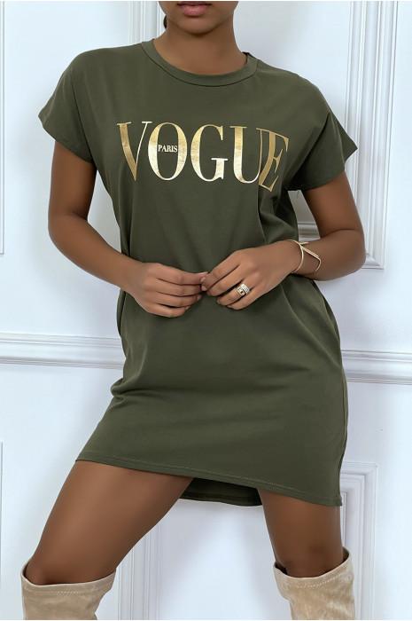 """Mustard """"Vogue"""" T-shirt dress with pockets"""