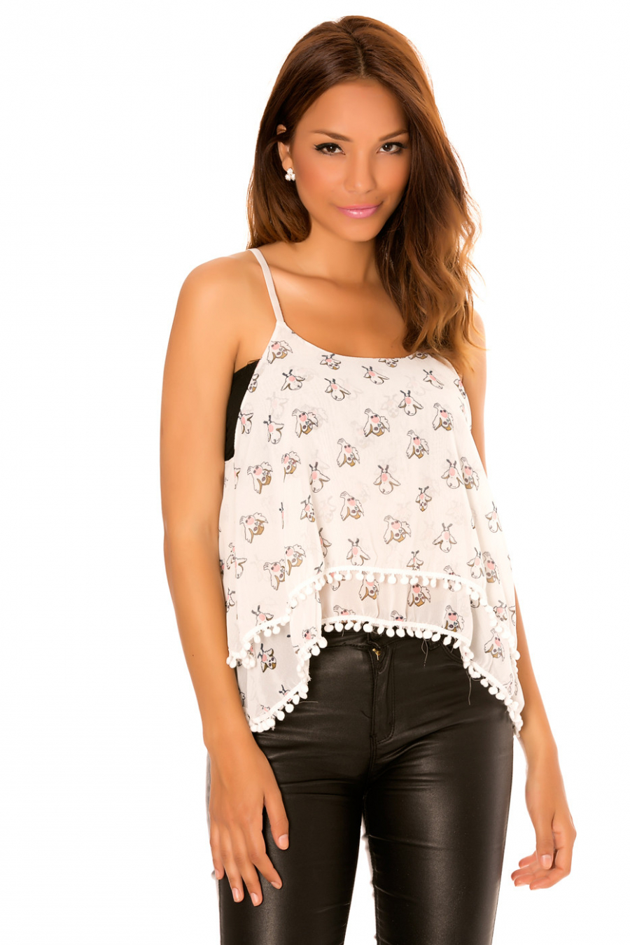 White top with thin straps, small bird patterns. MC1839-1