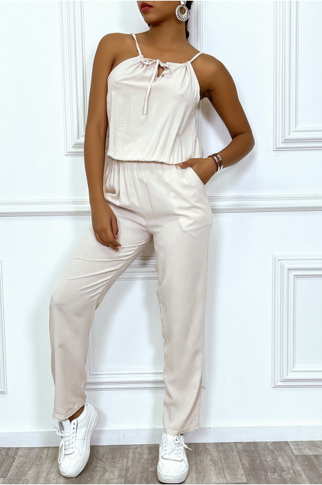 Combinaison taupe en coton avec poche et bretelle ajustable