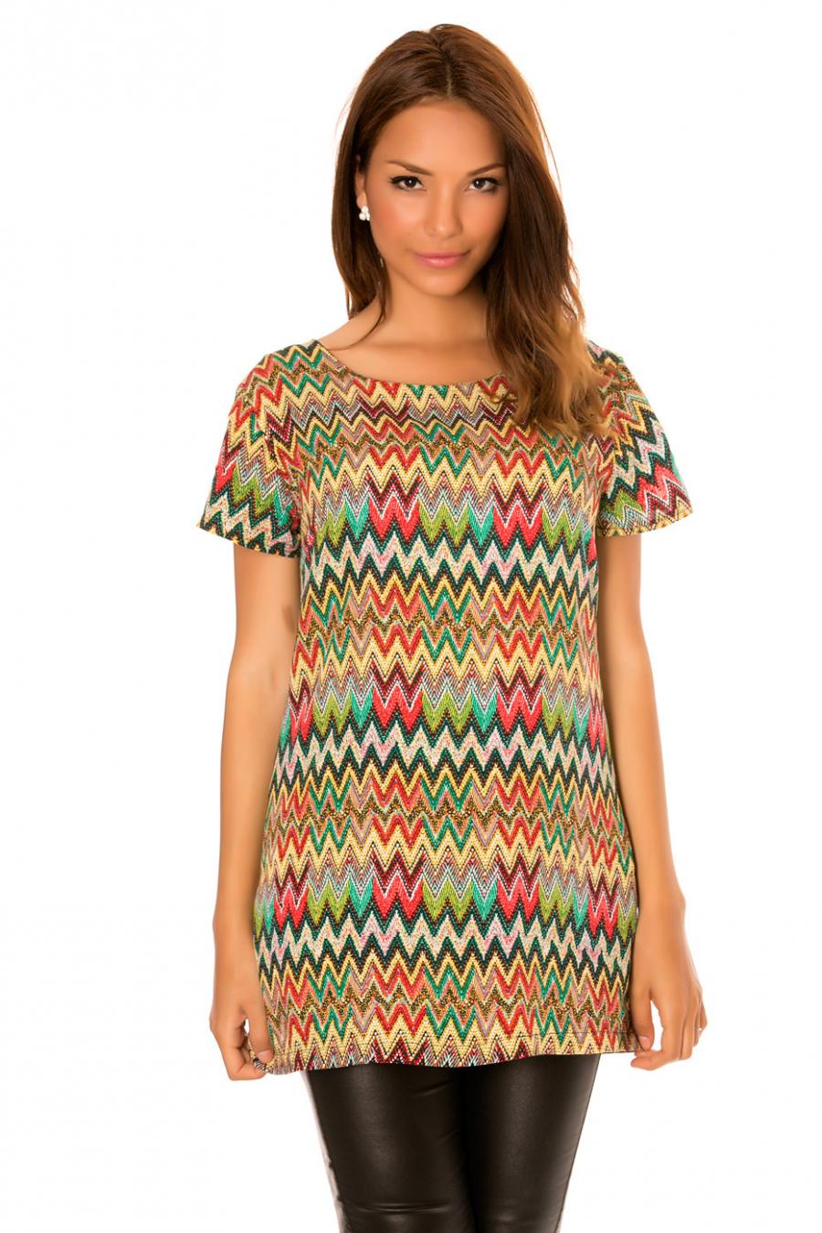 Robe tunique Verte à motifs zigzag et fermeture au dos. 673