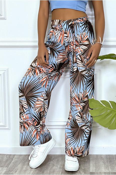 Pantalon palazzo noir motif feuilles