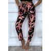 Pantalon fluide avec poches et motif feuille très tendance
