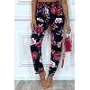 Pantalon fluide marine avec poches et joli motif fleuris très tendance