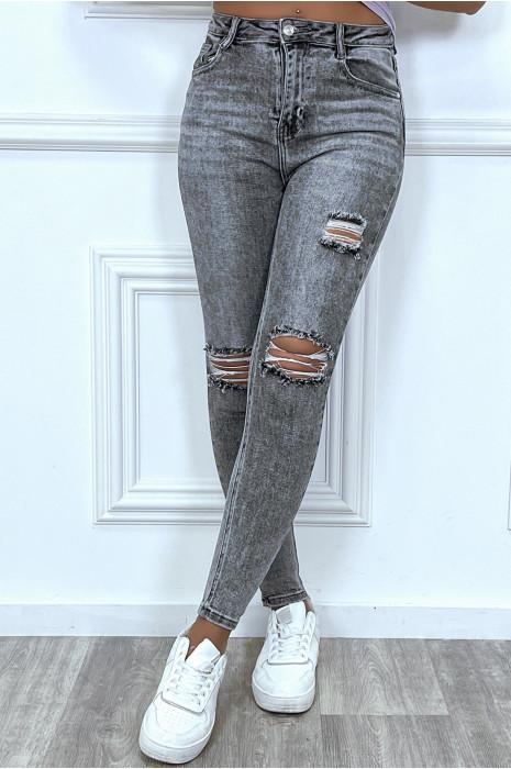 Jean bleu boot-cut à fentes
