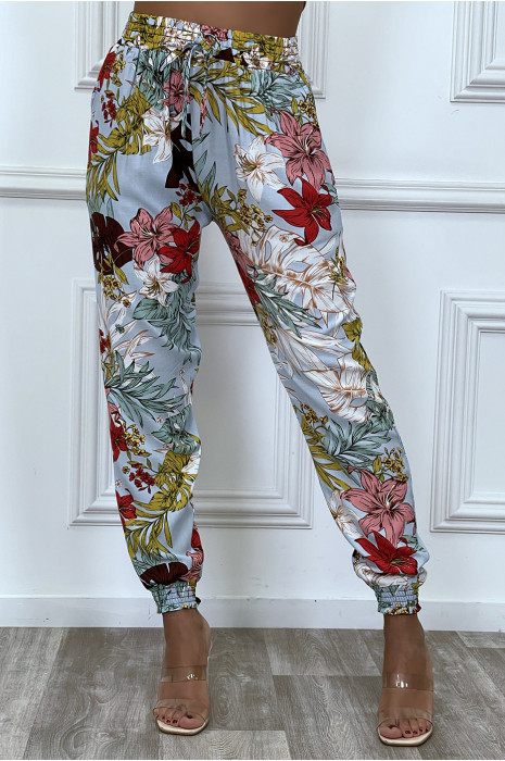 Turquoise cotton pants with flower pattern
