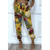Mustard cotton pants with floral pattern