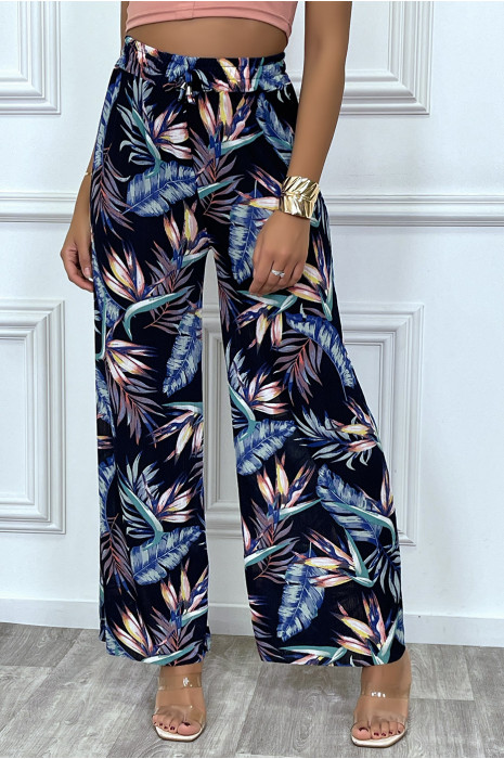 Palazzo pants in navy and turquoise with leaf pattern