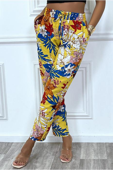 Pantalon jaune motif fleuris en coton avec poches