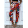 Rode katoenen broek met bloemmotief en zakken