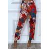 Pantalon rouge motif fleuris en coton avec poches