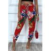 Pantalon rouge motif feuilles en coton avec poches