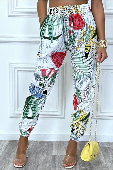 Pantalon blanc motif feuilles en coton avec poches