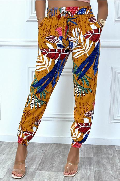 Pantalon moutarde motif feuilles en coton avec poches