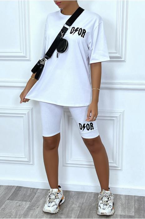 Ensemble tee-shirt et short cycliste beige inspi marque de luxe