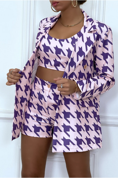 Black and white 3-piece houndstooth pattern suit set