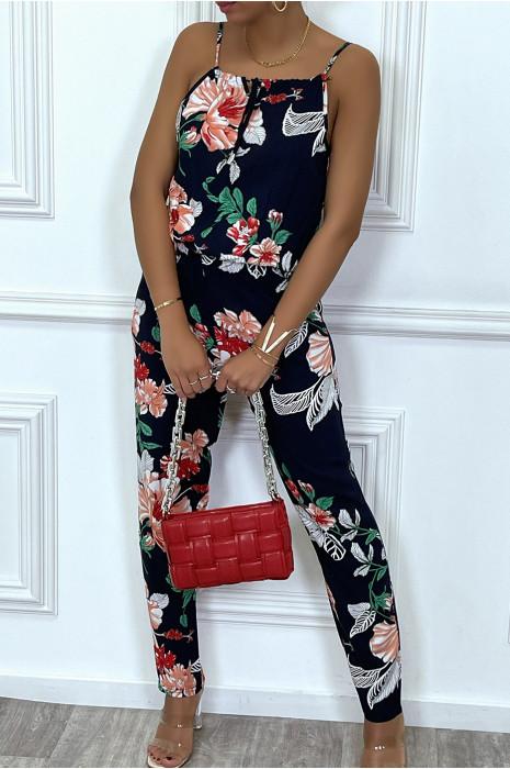 Combinaison pantalon marine à fleurs rouge et vert