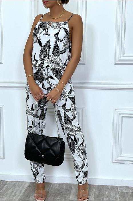 Combinaison pantalon noir à motif feuilles blanches
