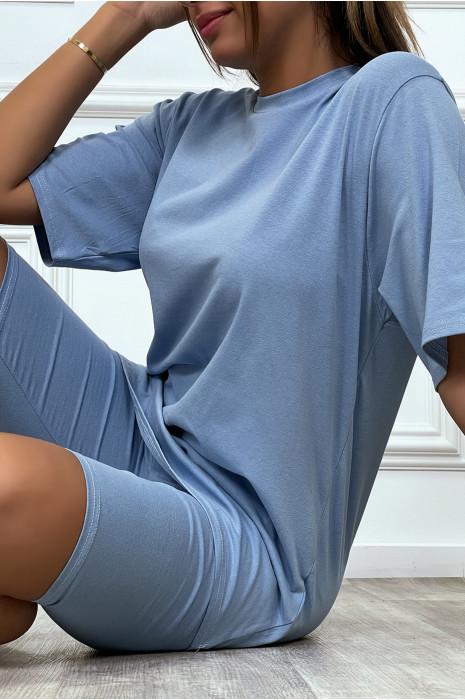 Ensemble tee-shirt et cycliste bleu