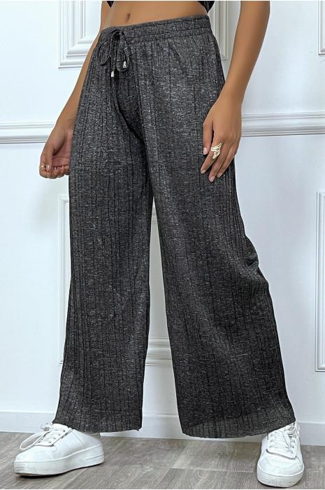 Pantalon palazzo gris fluide et  plissée
