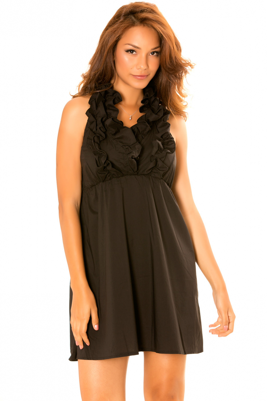 Black dress with frilly collar and open back. Trendy dress. 930
