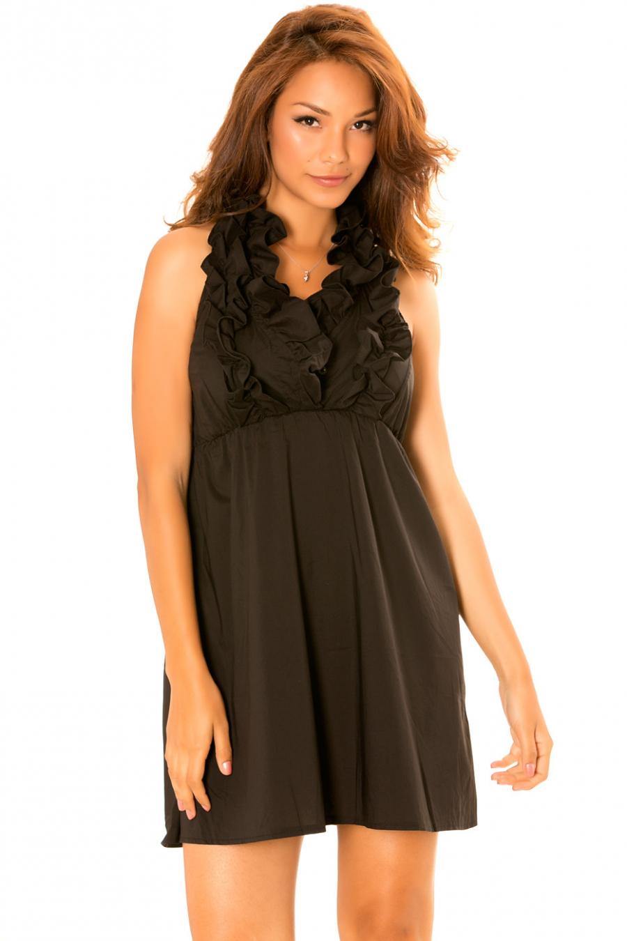 Zwarte jurk met ruches kraag en open rug. Trendy jurk. 930