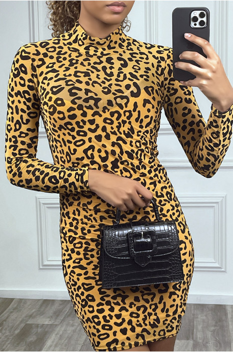 Robe courte transparente léopard moutarde, très tendance