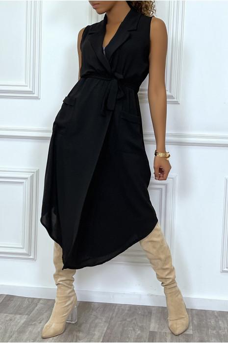 Robe longue kaki style portefeuille avec col