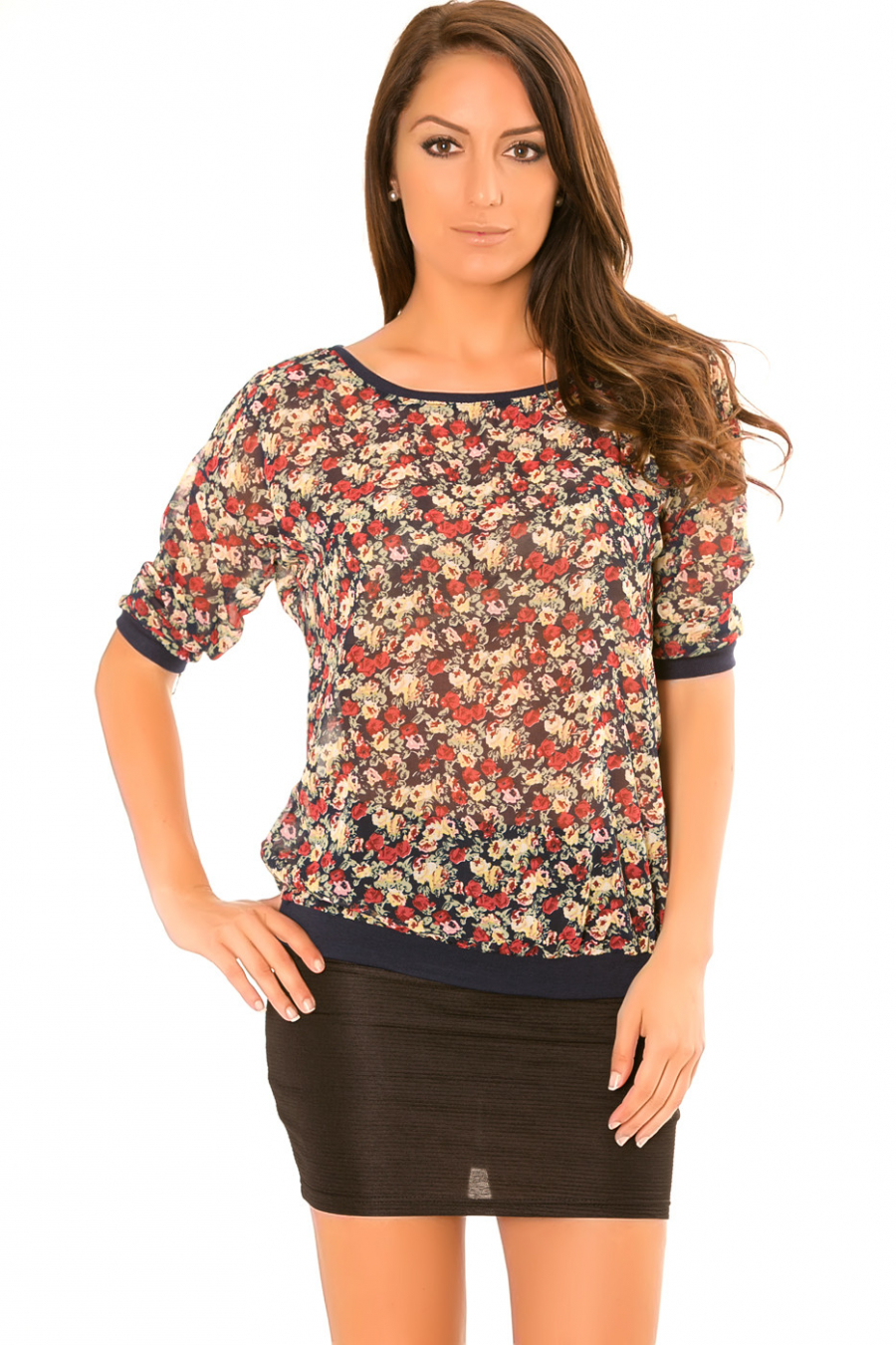 Top with predominantly navy sheer. Flower patterns. 1660
