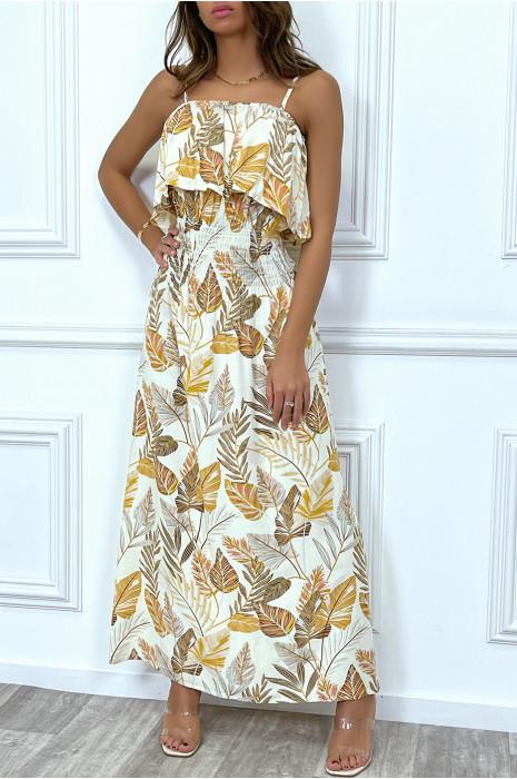 Robe longue d'été fleurie beige à fines bretelles avec volant
