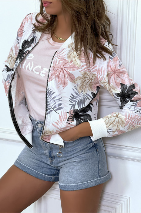 Light purple / white fluid jacket with zip and leaf pattern