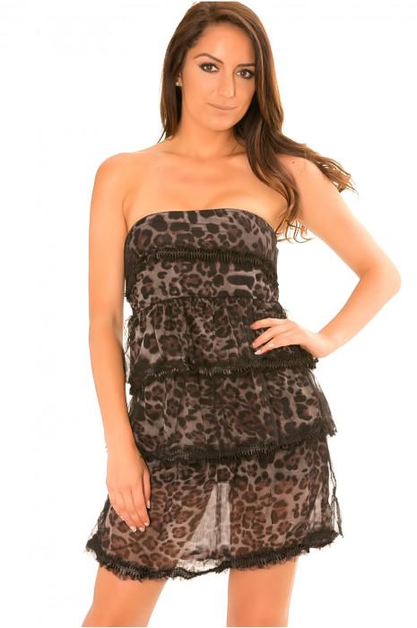 Robe léopard gris à volant. Robe sexy. 167