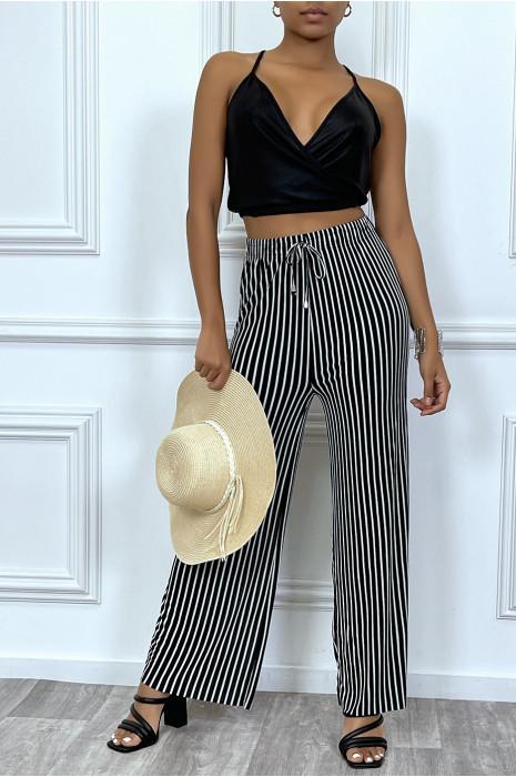 Pantalon palazzo noir ample et fluide à fines bandes blanches
