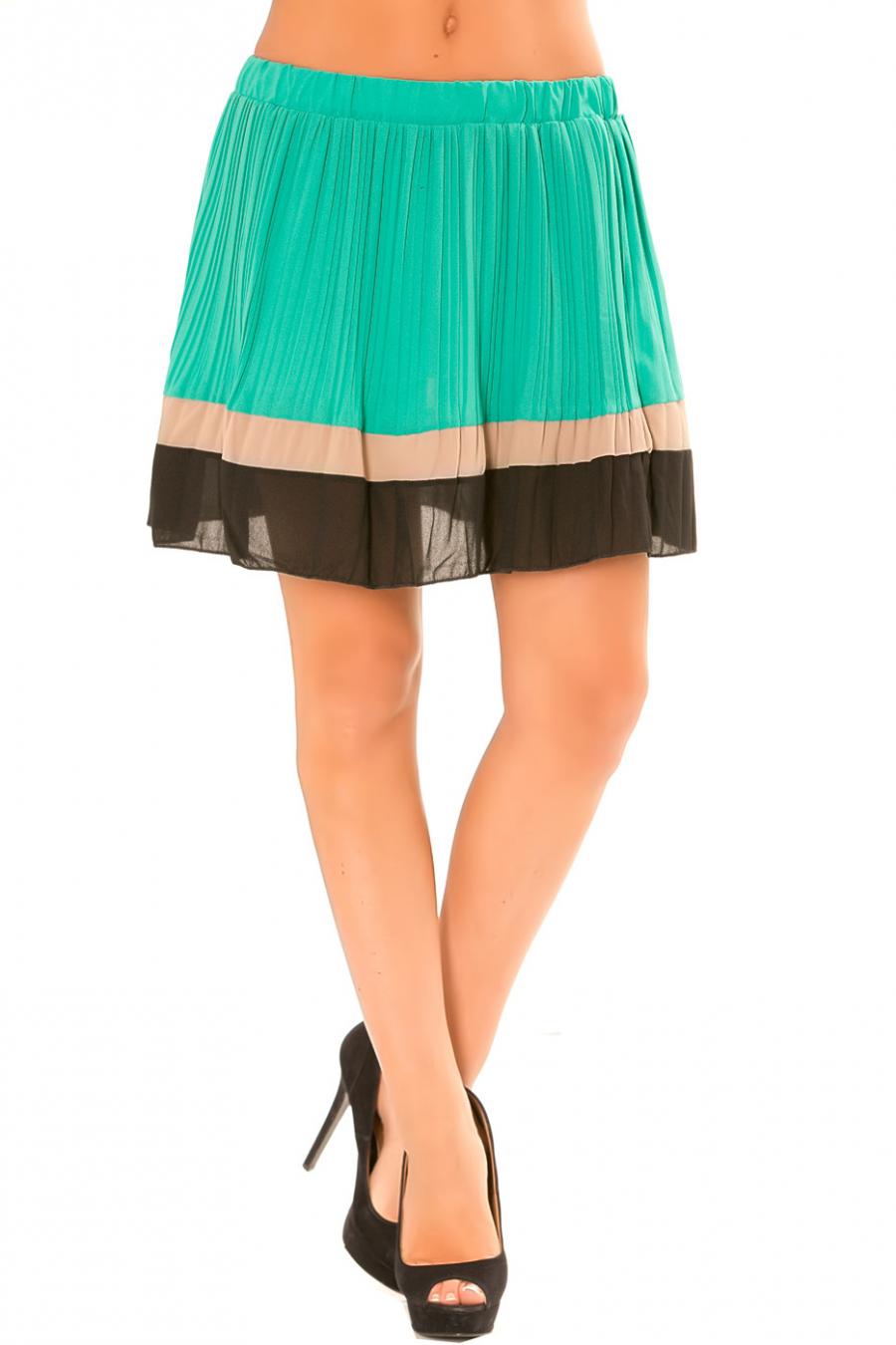 Jupe Vert clair plissé à bordure orange et noire. 6082