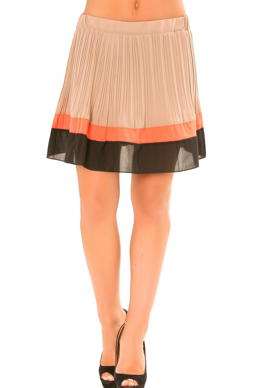 Jupe Taupe plissé à bordure orange et noire. 6082