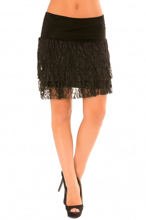 Zwarte rok met kanten volant. Rekbare rok. 102