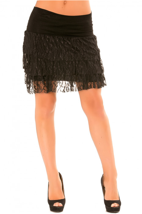 Black skirt with lace flounce. Stretch skirt. 102