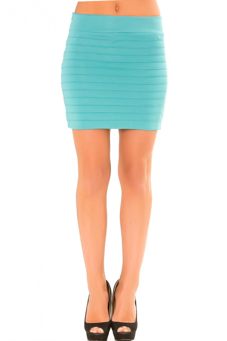 Mini jupe turquoise côtelé. Jupe Sexy. 9028