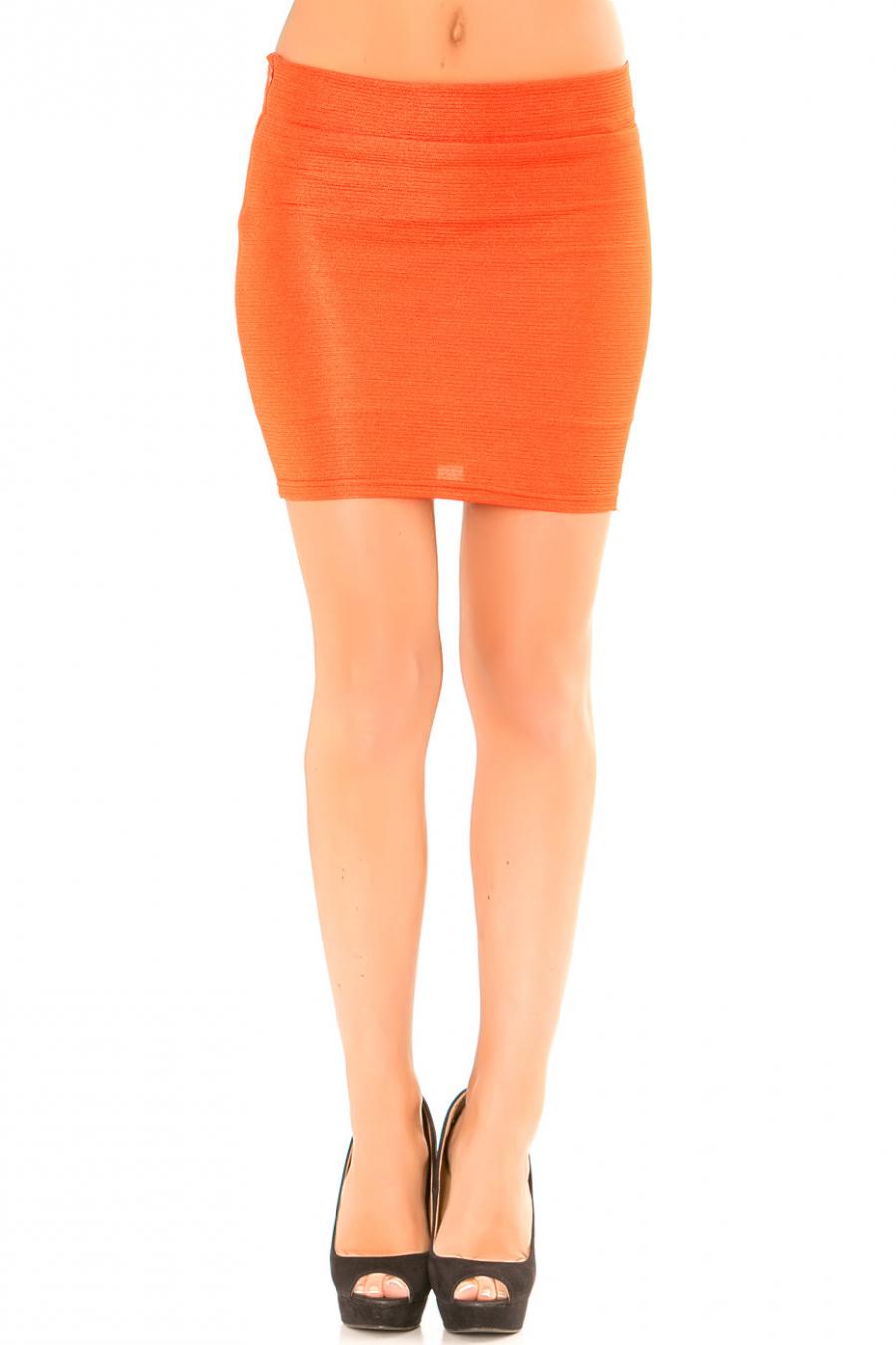 Mini jupe Orange côtelé. Jupe effet brillant. 1006