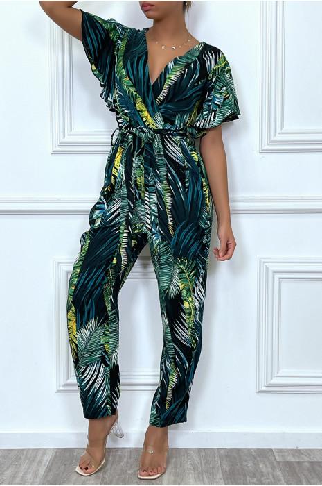 Combinaison pantalon verte à manches volants
