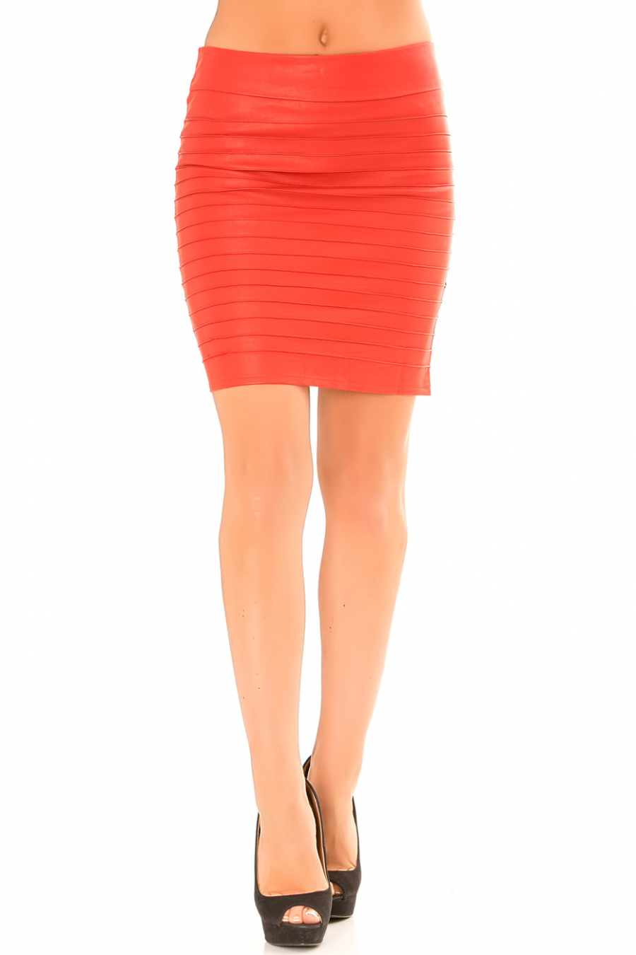 Red skirt in ribbed imitation. Sexy skirt. 625