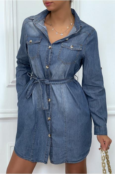 Robe chemise en jeans avec poches et ceinture
