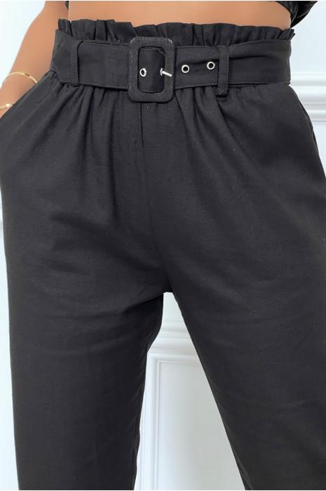 Pantalon tailleur coupe droite avec ceinture