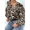 Blouse taupe motifs léopard, à manches bouffantes