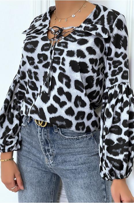 Blouse gris imprimés léopard, à manches bouffantes