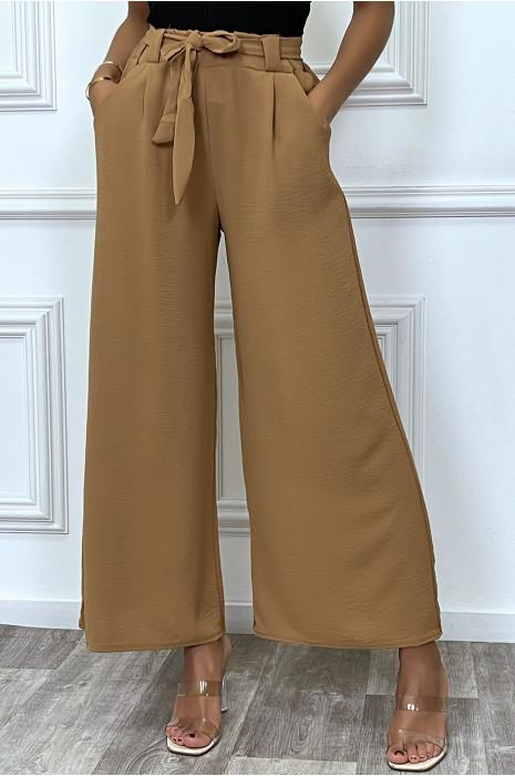 Pantalon palazzo kaki ceinturé, très tendance
