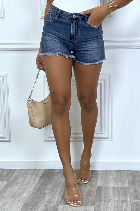 Mini short bleu delavé en jean avec franges