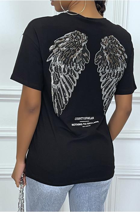 Tee-shirt noir oversize avec écriture et dessins en strass