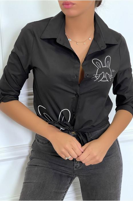 Chemise blanche à manches longues avec dessins de lapins
